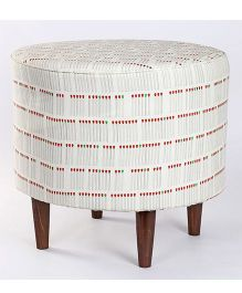 My Gift Booth Match Stick Print Pouf - White