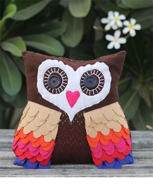 My Gift Booth Owl Shape Cushion  - Brown