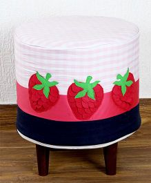 My Gift Booth Strawberry Design Pouf - Red Pink Black