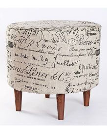 My Gift Booth Calligraphy Print Pouf - Beige