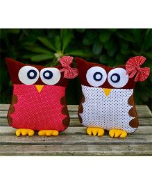 My Gift Booth Owl Shape Cushion Pack Of 2 - Pink White Maroon