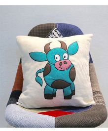 My Gift Booth Cushion Cover Cow Patch - White Blue