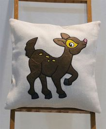 My Gift Booth Cushion Cover Deer Patch - White Brown