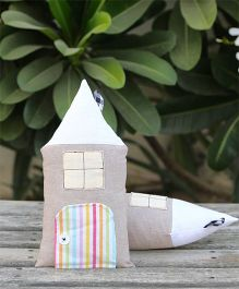 My Gift Booth Hut Shape Cushion Pack Of 2 - Grey White