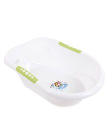 Baby Bath Tub With Print - White Green