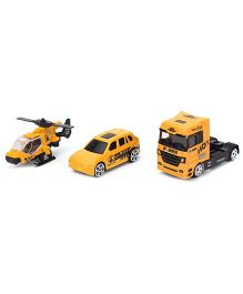 Playmate Die Cast Transport Toy Vehicle Set Pack of 3 - Yellow