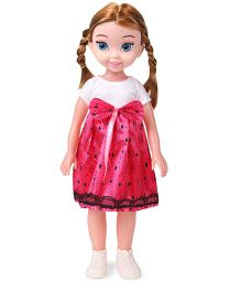 Doll With Printed Dress Pink - 38 cm