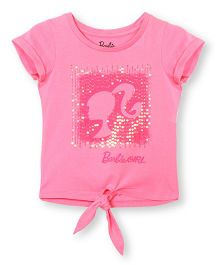 Barbie Half Sleeves Embroidered T-Shirt - Pink