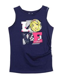 Barbie Sleeveless Love Printed Top - Dark Blue
