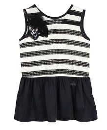 Barbie Sleeveless Designer Frock With Motif - Black & White