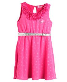 Barbie Sleeveless Shimmery Polka Designed Partywear Frock - Pink