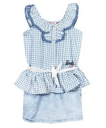 Barbie Sleeveless Check Frock With Lace Tie-Up Belt - Blue