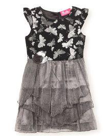 Barbie Cap Sleeves Shimmery Butterfly Design Partywear Frock - Grey