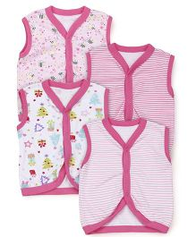 Kidi Wav Multiprint Sleeveless Vest Pack Of 4 - Pink