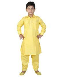 JBN Creation Pathani Kurta With Pockets & Pajama Set - Yellow