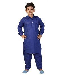 JBN Creation Pathani Kurta With Pockets & Pajama Set - Blue