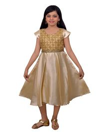 Ssmitn Short Sleeves Party Dress Sequined Bodice - Beige
