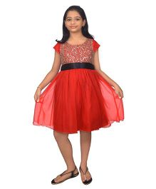 Ssmitn Short Sleeves Party Dress Lace & Sequined Bodice - Red