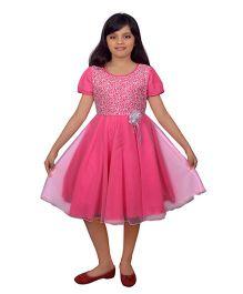 Ssmitn Half Sleeves Party Dress Flower Motif - Pink