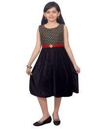 Ssmitn Sleeveless Party Dress Embroidered Bodice - Black