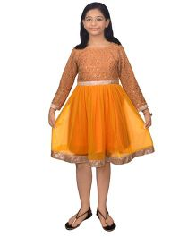 Ssmitn Full Sleeves Party Dress Sequined Embroidered Bodice - Orange