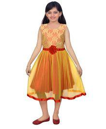 Ssmitn Sleeveless Party Dress Floral Lace Bodice - Yellow
