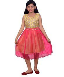Ssmitn Sleeveless Party Dress Flower Embroidery - Yellow & Pink