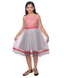 Ssmitn Sleeveless Party Dress Floral Bodice - Pink & Grey