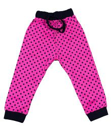 LOL Full Length Polka Dot Printed Track Pant - Dark Pink
