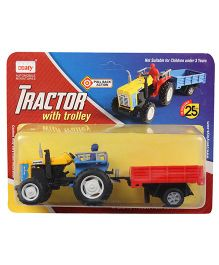 Centy Pull Back Toy Tractor With Trolley - Red Blue