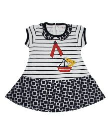 LOL Short Sleeves Printed Frock With Teddy Patch - Navy Blue