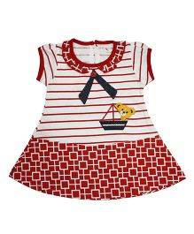 LOL Short Sleeves Printed Frock With Teddy Patch - Red