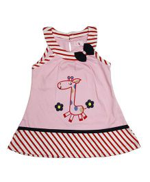 LOL Sleeveless Embroidered Frock - Pink