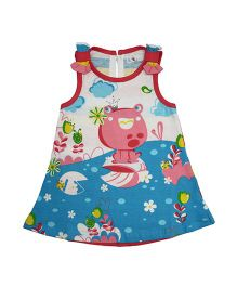 LOL Sleeveless Cotton Printed Frock - Blue