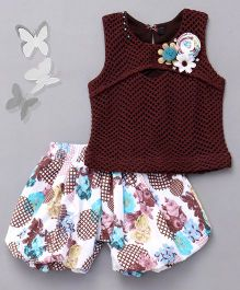 Little Sparrow Top With Floral Shorts Set - Brown