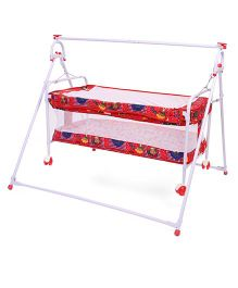 Mothertouch Baby Cradle Cum Bassinet Bear Print - Red