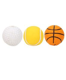 Ratnas Squeaky Bath Toy Sports Ball Set of 3 - White Orange Yellow