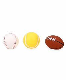 Ratnas Squeaky Bath Toy Sports Ball Set of 3 - White Yellow Brown