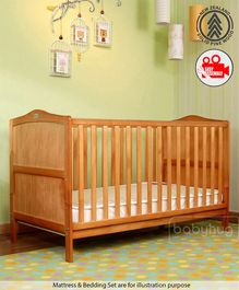 Babyhug Merlino Wooden Cot Cum Bed - Antique