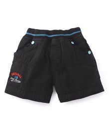 Olio Kids Pull On Shorts Cool Dude Embroidery - Black
