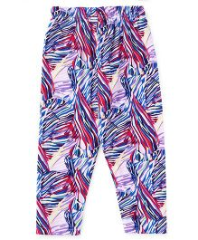 Babyhug Full Length Printed Stretchable Leggings - Purple Multicolor