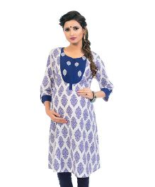 Kriti Block Print Maternity Kurta With Cambric Zippers - White Blue