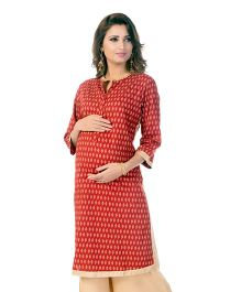 Kriti Block Print Maternity Kurta With Cambric Zippers - Maroon
