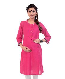 Kriti Three Fourth Sleeves Maternity Kurta With Zipper - Pink
