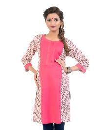 Kriti Block Print Maternity Kurta With Cambric Zippers - White Coral