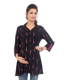 Kriti Three Fourth Sleeves Maternity Nursing Tunic Top - Black