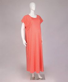 Kriti Half Sleeves Maternity Nighty Dots Print - Coral