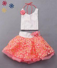 M'Princess Party Wear Skirt Top Set - Peach