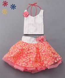 M'Princess Party Wear Skirt Top Set - Peach