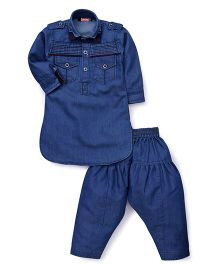 Babyhug Full Sleeves Denim Pathani Kurta And Pajama Set - Blue